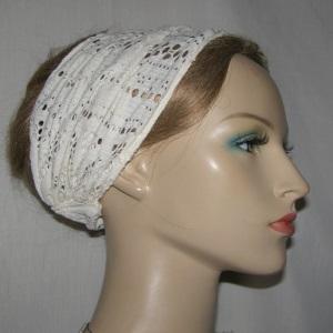 Ivory Crochet Wide Headband