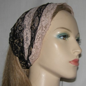 Mauve Black Gold Lace Headband