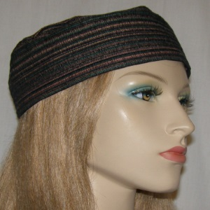 Mauve Olive & Brown Striped Buchari Kippah