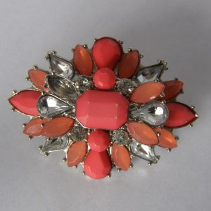 Orange Coral Crystal & Rhinestone Starburst Tichel Pin