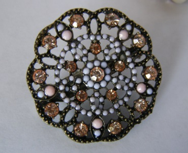 Peach Crystal Pink Beaded Tichel Pin