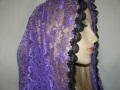 Purple Lace Venice Trimmed Hair Wrap