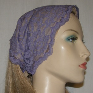 Purple Lace Tie On Headband
