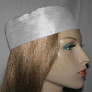 White Raw Silk Bucharian Kippah