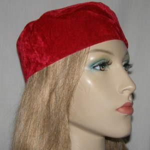 Red Crushed Velvet Buchari Style Kippah