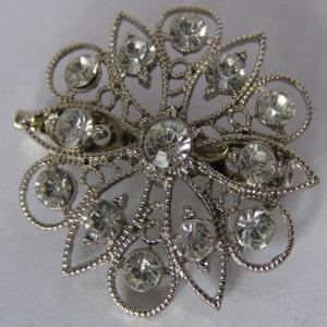 Silver Filigree Rhinestone Starburst Tichel Pin