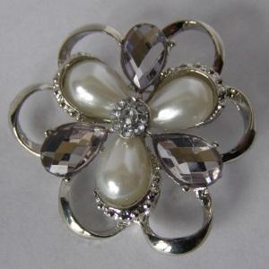 Silver Pearl Rhinestone Tichel Pin