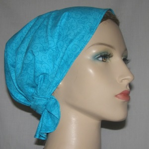 Turquoise Floral Headband Scarf