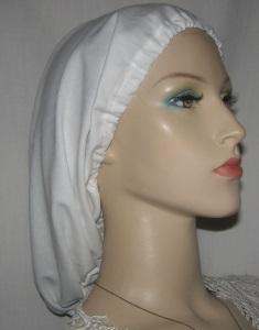 White Batiste Elastic Front Snood Headcoverings