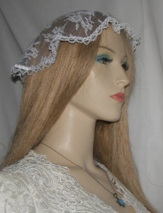 White Chantilly Lace Pearl Trimmed Doily Mapit Head Covering