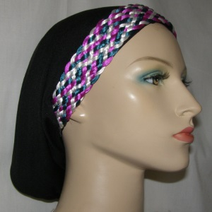 White Jade Magenta Braided Headband