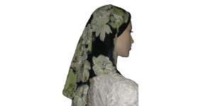 Black & Green Floral Polyester Scarf