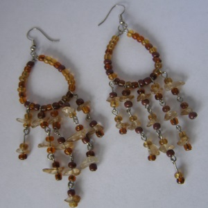 Bohemian Amber Beaded Earrings