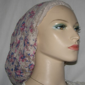 Beige Cranberry Floral Poly Sheer Snood Headcovering