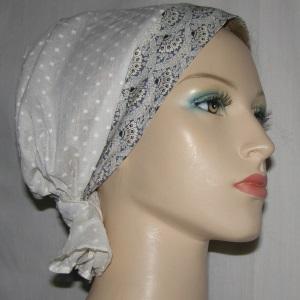 Creme Swiss Dot Headband Scarf