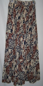 Black Brown Creme African Design Cotton Boho Skirt