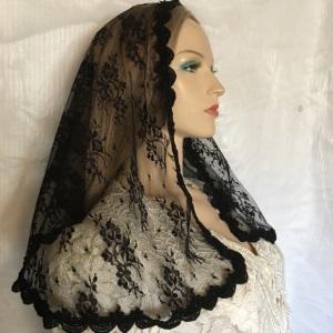 Black Chantilly Lace Venise Trim Headwrap Veil