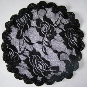 Black Floral Nylon Venise Doily Covering