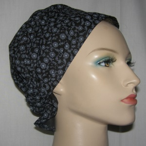 Black with Gray Floral Headband Scarf Head Covering