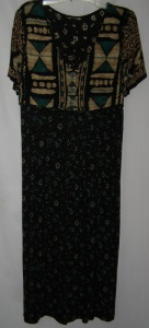 Black Green Tan Tribal Designed Dress