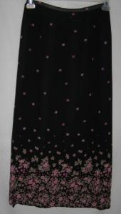 Black Pink Floral Polyester Skirt