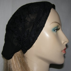 Black Satin Stich Embroidery Headband
