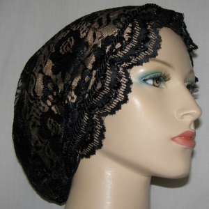 Black Satin Stitch Lace Snood Headcovering