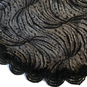 Black Sheer Designed Lace Doily Kippah