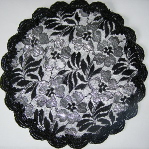 Black & Silver Floral Doily Covering