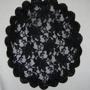 Black Starburst Designed Lace Mapit Doily Style Kippah