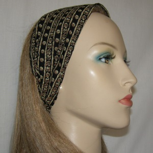 Black Tan Gold Mid Eastern Design Head Band