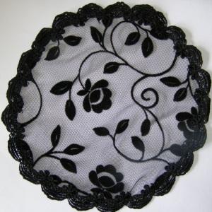 Black Velvet Floral with Black Scallope Venise Doily Style Kippah