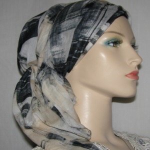 Black White Tan Plaid Design Hair Wrap Mitpachat Scarf Headcoverings