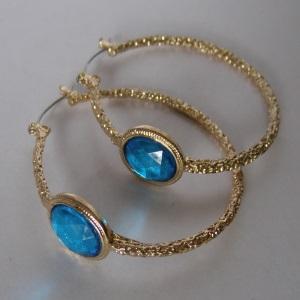 Blue Jewel Hoop Earrings