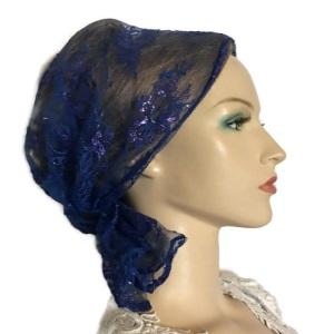Blue Magenta Lace Headband Scarf