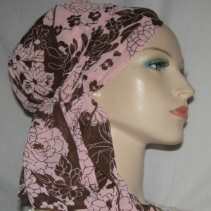 Brown Peach Flral Design Mitpachat Tiechel Scarf Headcoverings