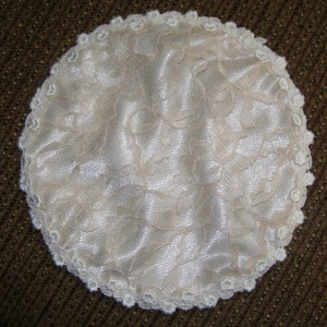 Champagne Lace Trimmed Covering