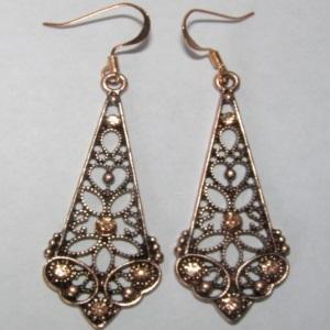 Copper Amber Crystal Earrings