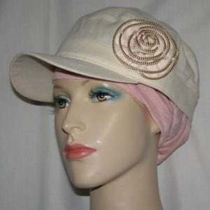 Creme Cotton Zipper Rose Hat