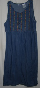 Embroidery Floral Denim Maxi Dress