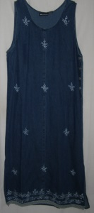 Rose Embroidery Design Denim Maxi Dress