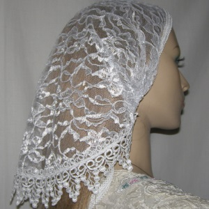 Ester White Venise Trimmed Mimkhatah Kerchief Headcovering