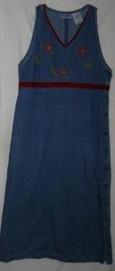 Floral Applique Denim Maxi Dress