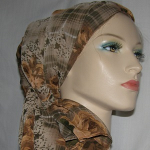 Ginger & Khaki Plaid Design Hair Wrap Mitpachat Scarf Headcoverings