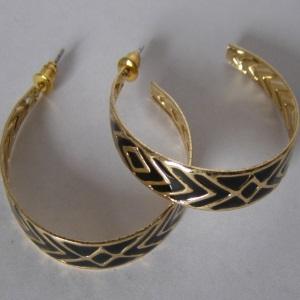 Gold Black Design Hoop Earrings