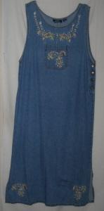 Gold Floral Embroidery Denim Jumper Dress