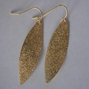 Goldtone Sparkle Leaf Earrings