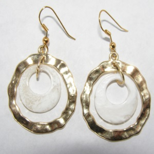 Goldtone White Resin Hoop Earrings