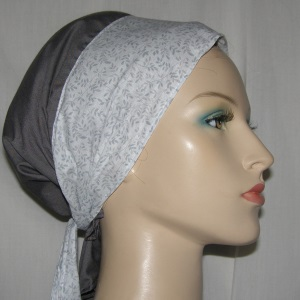 Gray White Floral Ties Sherntichel Scarf