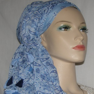 Light Blue Paisley Design Hair Wrap Mitpachat Scarf Headcoverings